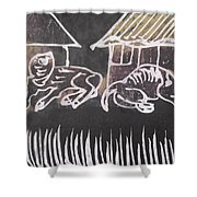 Animals Pose In The Remote Village. Shower Curtain