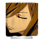 Anime Girl Brown Shower Curtain