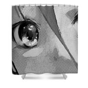 Anime Girl Eyes Black And White Shower Curtain