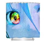 Anime Girl Eyes Blue Shower Curtain