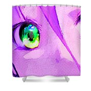 Anime Girl Eyes Pink Shower Curtain