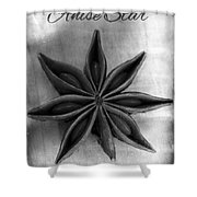 Anise Star Single Text Distressed Black And Wite Shower Curtain