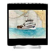 Ann Kathleen Crab Fishing Boat Nautical Chart Map Art Shower Curtain