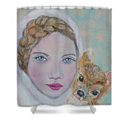 Annalina Litte Angel Of Graceful Light Shower Curtain by The Art With A Heart By Charlotte Phillips