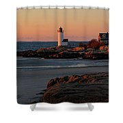 Annisquam Lighthouse At Sunset Shower Curtain