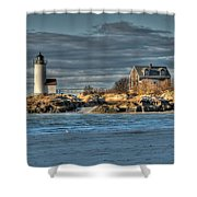 Annisquam Lighthouse From The Beach Shower Curtain