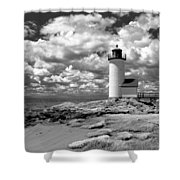 Annisquam Lighthouse Infrared Shower Curtain