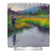 Another Cast - Fishing In Alaskan Stream Shower Curtain