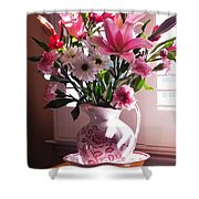 Another Grandma's Pitcher With Flowers Shower Curtain