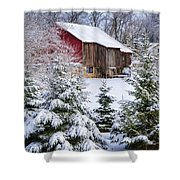 Another Wintry Barn Shower Curtain