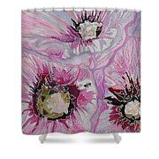 Ant Exploring Hollyhock Shower Curtain by Jo Anne Neely Gomez