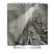 Antelope Canyon Light Black And White Shower Curtain