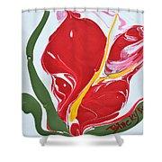 Anthurium Fire Shower Curtain