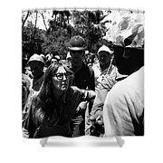 Anti-viet Nam War Protestor Confronting Smoking Marine Pro-war March Tucson Arizona 1970  Shower Curtain