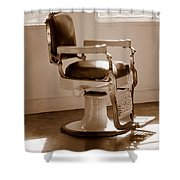 Antiquated Barber Chair In Sepia Shower Curtain