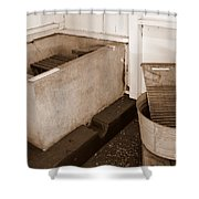 Antiquated Bathtub Washboard And Laundry Tub In Sepia Shower Curtain