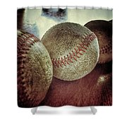 Antique Baseballs Still Life Shower Curtain