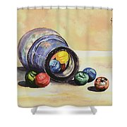 Antique Bottle With Marbles Shower Curtain