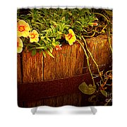 Antique Bucket With Yellow Flowers Shower Curtain