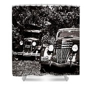 Antique Cars Black And White Shower Curtain