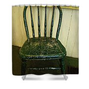 Antique Child's Chair With Quilt Shower Curtain