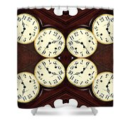 Antique Clock Abstract . Horizontal Shower Curtain by Renee Trenholm