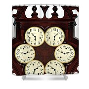 Antique Clock Abstract . Standard Shower Curtain by Renee Trenholm