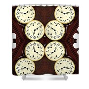 Antique Clock Abstract . Vertical Shower Curtain by Renee Trenholm