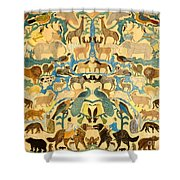 Antique Cutout Of Animals  Shower Curtain