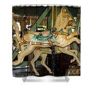 Antique Dentzel Menagerie Carousel Cat Shower Curtain by Rose Santuci-Sofranko