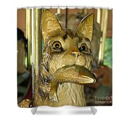 Antique Dentzel Menagerie Carousel Cat With Fish In Rochester New York Shower Curtain