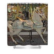 Antique Dentzel Menagerie Carousel Horse Colored Pencil Effect Shower Curtain by Rose Santuci-Sofranko