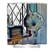 Antique Edison Phonograph In The Boardwalk Plaza Lobby - Rehoboth Beach Delaware Shower Curtain