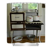 Antique Estate Stove With Cookware Shower Curtain