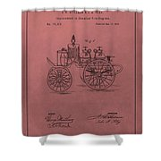 Antique Fire Engine Patent On Red Shower Curtain