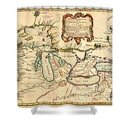 Antique French Map Of The Great Lakes 1755 Shower Curtain