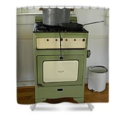 Antique Green Stove And Pressure Cooker Shower Curtain