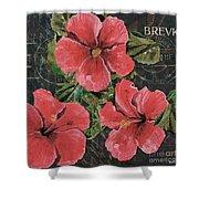 Antique Hibiscus Black 3 Shower Curtain by Debbie DeWitt