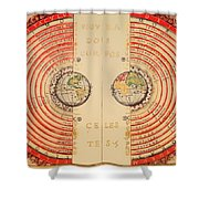 Antique Illustrative Map Of The Ptolemaic Geocentric Model Of The Universe 1568 Shower Curtain