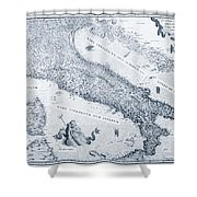Antique Italy Map 1573 Shower Curtain