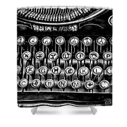 Antique Keyboard - Bw Shower Curtain