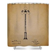 Antique Lamp Post Patent Shower Curtain