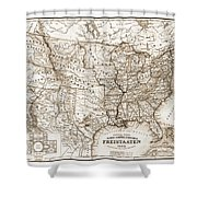 Antique Map 1853 United States Of America Shower Curtain