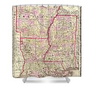 Antique Map Of Arkansas Mississippi And Louisiana Shower Curtain