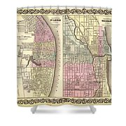Antique Map Of Chicago And St Louis 1855 Shower Curtain