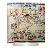 Antique Map Of Europa 1563 Shower Curtain