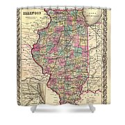 Antique Map Of Illinois 1855 Shower Curtain