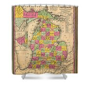 Antique Map Of Michigan 1853 Shower Curtain