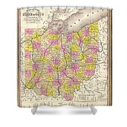 Antique Map Of Ohio 1850 Shower Curtain