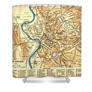 Antique Map Of Rome During Antiquity 1870 Shower Curtain